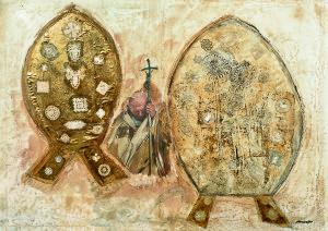 Ezio Gribaudo, Omaggio a Papa Giovanni Paolo II, 2005, tecnica mista