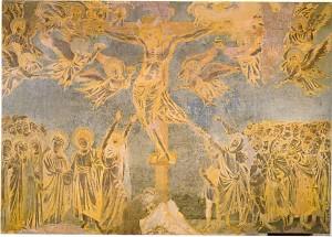 Cimabue, Crocifissione, 1280 - 1285, affresco, Assisi, Basilica Superiore di San Francesco (in Guardar Lontano, Veder Vicino di Philippe Daverio)