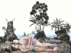 Entang Wiharso, Interfere - Reclaim Landscape, oil on canvas, 2012, courtesy VideoinsightCentro Videoinsight® Center