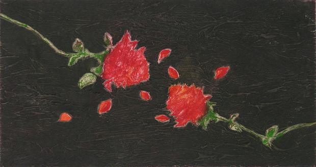 Ermanno Barovero, Due Rose (fondo nero), courtesy Studio Fornaresio