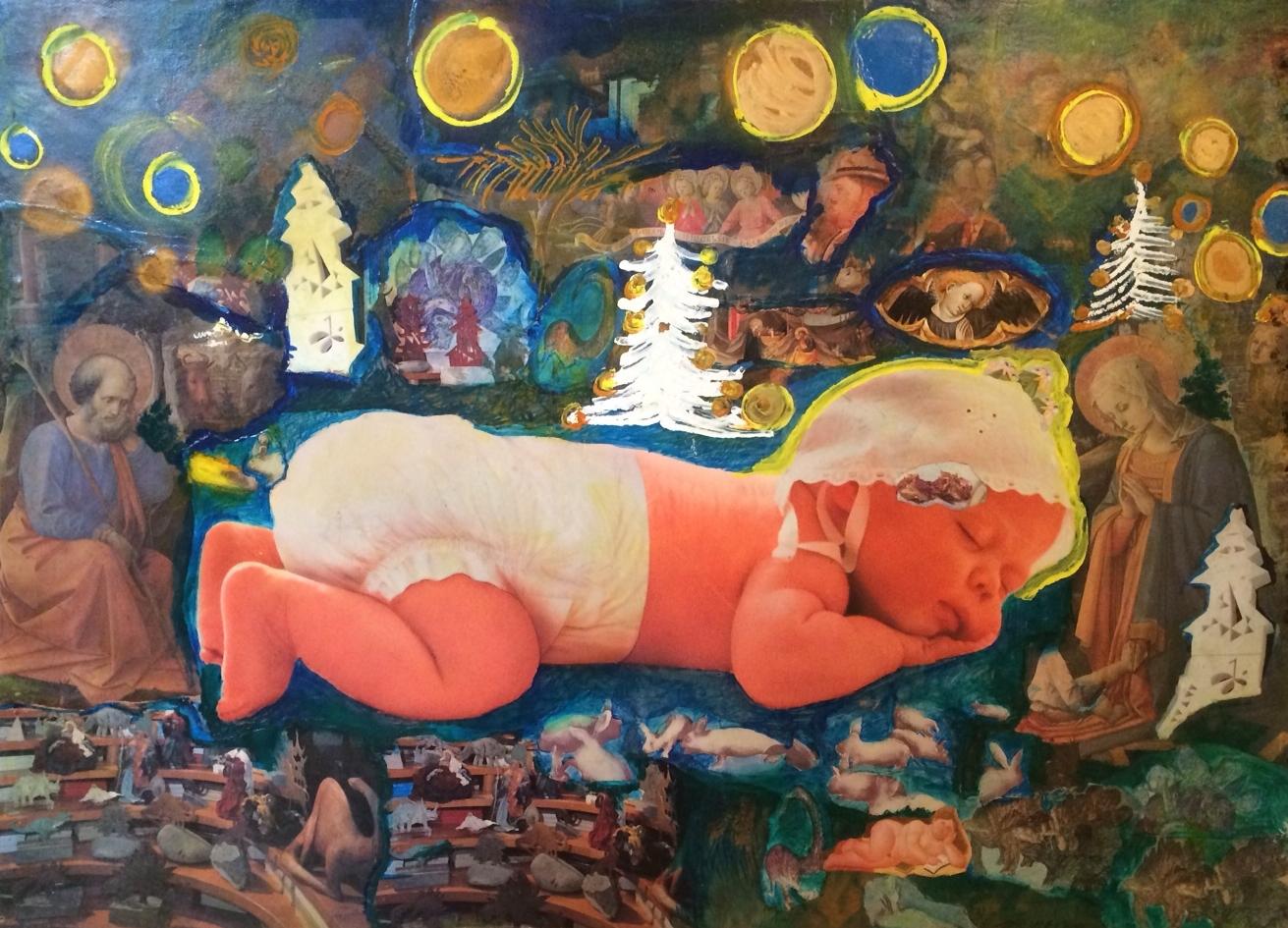 Ezio Gribaudo, Presepe, collage e tecnica mista, 1997