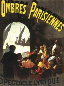 Aurélien Scholl, Ombres parisiennes, litografia a colori, manifesto, Paris, 1893
