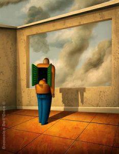 """Domenico Dell'Osso, """"La mia casa sono io"""" (acrilico su tela, cm. 35x45)"""