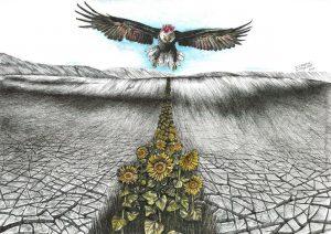"""Olimpia Campitelli, """"Il volo di Frida"""" (inchiostro a gel e acquerello su carta, cm. 29,7×40)"""