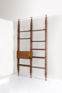 LB7 Libreria componibile in legno di palissandro. Prod. Poggi 1957 Marchio del produttore cm 310x175x35