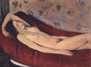 Francesco Menzio, Nudo Disteso su Sfondo rosso, 1928