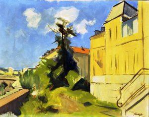 Paesaggio con casa gialla