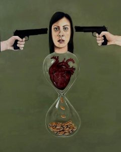 Simona Correnti, Crocifissione, olio su tela, 150x100