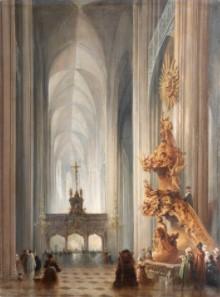 Carlo Bossoli - Interno di Cattedrale Gotica