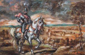 Giorgio de Chirico - Cavaliere in un paese